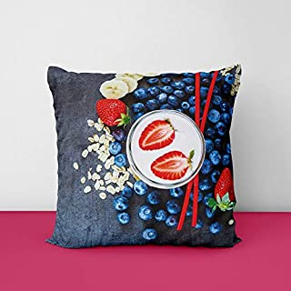 51pjUp QoVL. SS320 Blueberry-Fruit Square Design Printed Cushion Cover