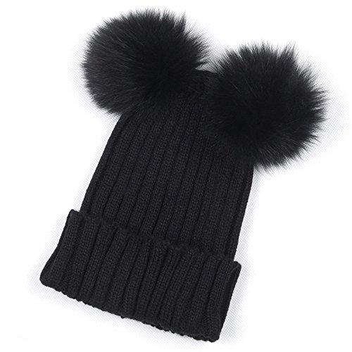 NEEKEY Women Winter Warm Hats Crochet Knit Hairball Beanie Cap(Free Size,Black) ()