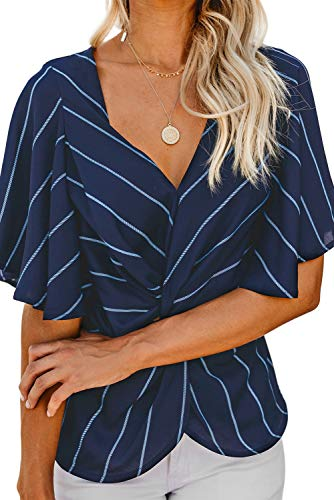 - Women Twist Front Tops - Summer Casual Ruffle Short Sleeves V Striped Loose Shirt Blouse Blue