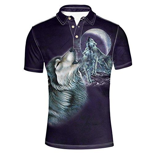 HUGS IDEA Men's Polos Shirt Moon Wolf Pattern Summmer Short Sleeves Button Down Tshirts Tees