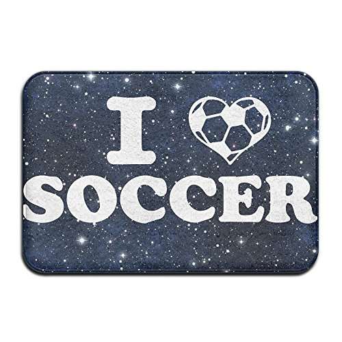 Youbah-01 Indoor/Outdoor Doormat With I Love Soccer Graphic Pattern For Dining by Youbah-01