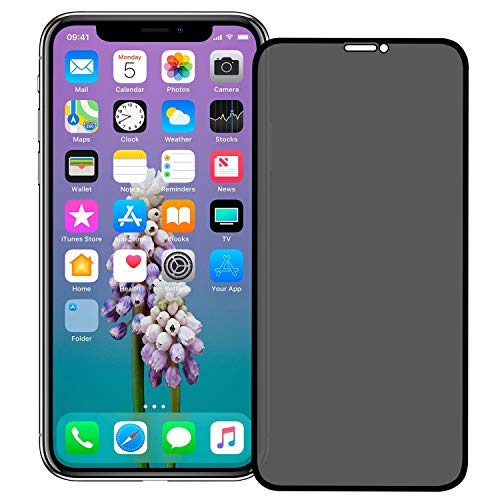 VitaVela iPhone X Privacy Screen Protector,[3D Curved] [Case Friendly] 9H Hardness Anti-Spy Tempered Glass Filmy, for Apple iPhone X/XS (5.8) Black