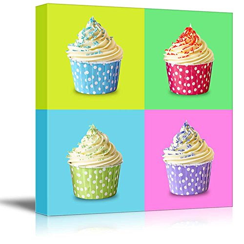 """wall26 - Canvas Wall Art - Multi-Color Pop Art with Cupcakes - Giclee Print Gallery Wrap Modern Home Decor Ready to Hang - 16"""" x 16"""""""