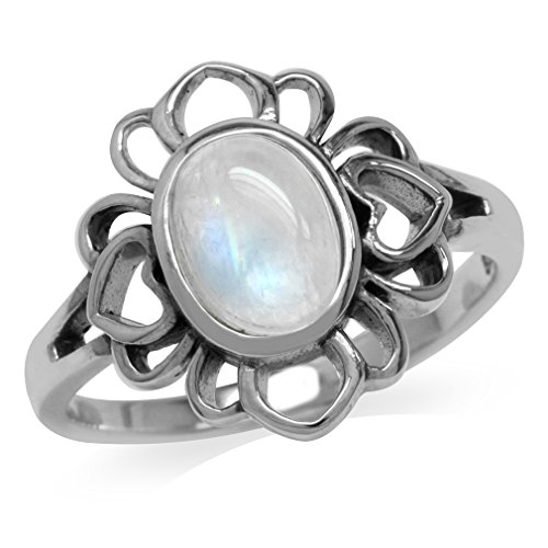 Natural Moonstone 925 Sterling Silver Filigree Flower Ring Size 8