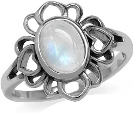 Natural Moonstone 925 Sterling Silver Filigree Flower Ring