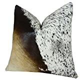 Thomas Collection Cowhide Pillow - Tri Color Brown Black Cream Decorative Cowhide Pillow - Genuine Brazilian Cowhide Accent Couch Sofa Pillow, Made in USA, 16615