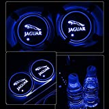 Alichee LED Car Logo Cup Holder Pad 7 Colors Changing USB Charging Mat LED Cup Mat Car Atmosphere Lamp Decoration Lights 2PCS for Jaguar Accessories