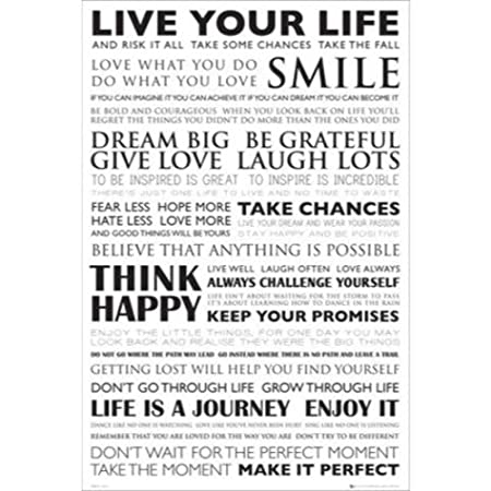 Live Your Life Smile Motivational Quotes 36x24 Art Print Poster