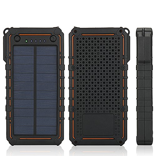 Solar Charger, 15600mAh Portable Solar Power Bank External Backup Battery Pack Phone Charger, 2 Dual USB, 2 LED Lights for iPhone iPad Samsung HTC Cellphones,Outdoor Camping Travel Accessory (ORANGE)