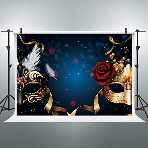 Riyidecor MasqueradeBackdrop Golden Rose Birthday Party Feather Dark Blue Photo Photography Background 7X5 Feet Newborn Decorations Baby Shower Props Photo Shoot Vinyl Cloth ()