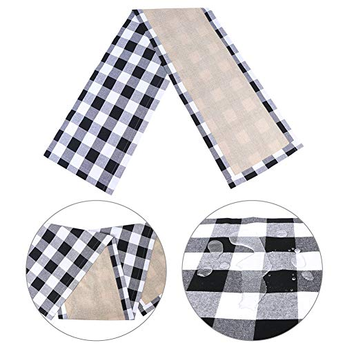 HAKACC 14×108 Inch Black and White Buffalo Plaid Table Runner Cotton Burlap Table Runner for Christmas Holiday Birthday Party Table Home Decoration