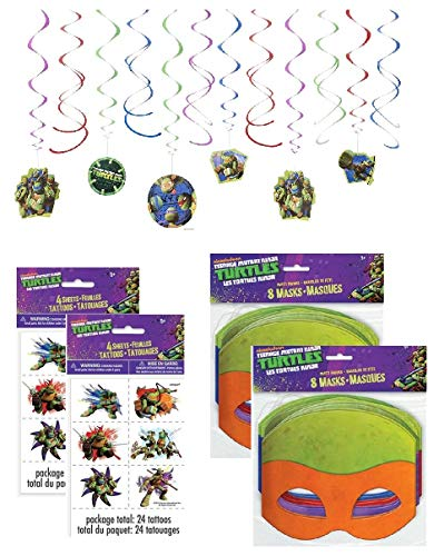 Ninja Turtles Birthday Party Supplies (Teenage Mutant Ninja Turtle Birthday Party Supplies for 16 - 16 Masks, 48 Tattoos, One 12-Piece Swirl Hanging)