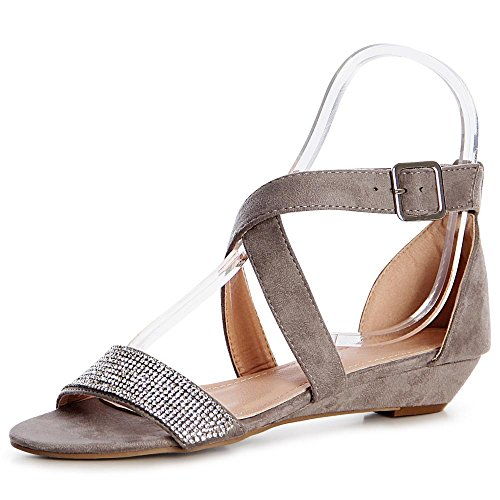 topschuhe24 - Sandalias de vestir de tela para mujer, color beige, talla 37 EU