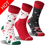 Christmas Fun Cartoon Socks, RTZAT Unisex Novelty Fashion Holiday Funny Cute Cotton Mid Claf Socks, 3-4 Pairs