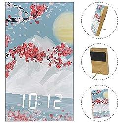 Japanese Landscape Sakura Cherry Flowers Wood Digital Wooden LED Alarm Clock for Home, Dormitory, Office