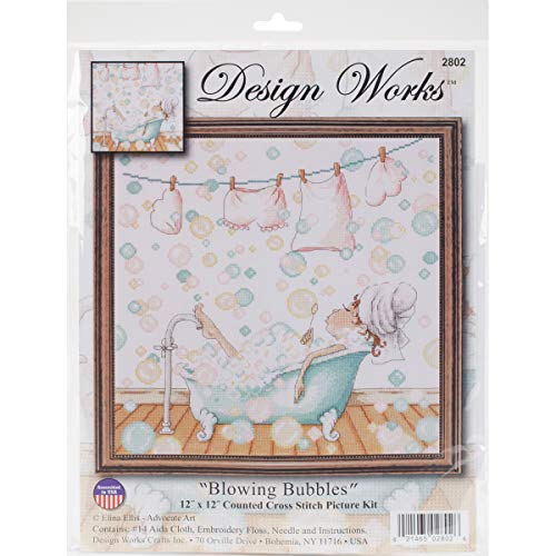 (Tobin 2802 14 Count Blowing Bubbles Counted Cross Stitch Kit, 12