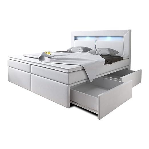 Wohnen Luxus Boxspringbett 160x200 Weiss Mit Bettkasten Led Kopflicht