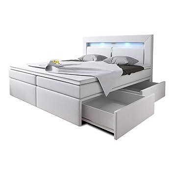 Wohnen Luxus Boxspringbett 160x200 Weiß Mit Bettkasten Led Kopflicht