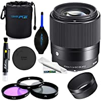 Sigma 30mm f/1.4 DC DN Contemporary Lens for Sony E - Deal-Expo Basic Accessories Bundle