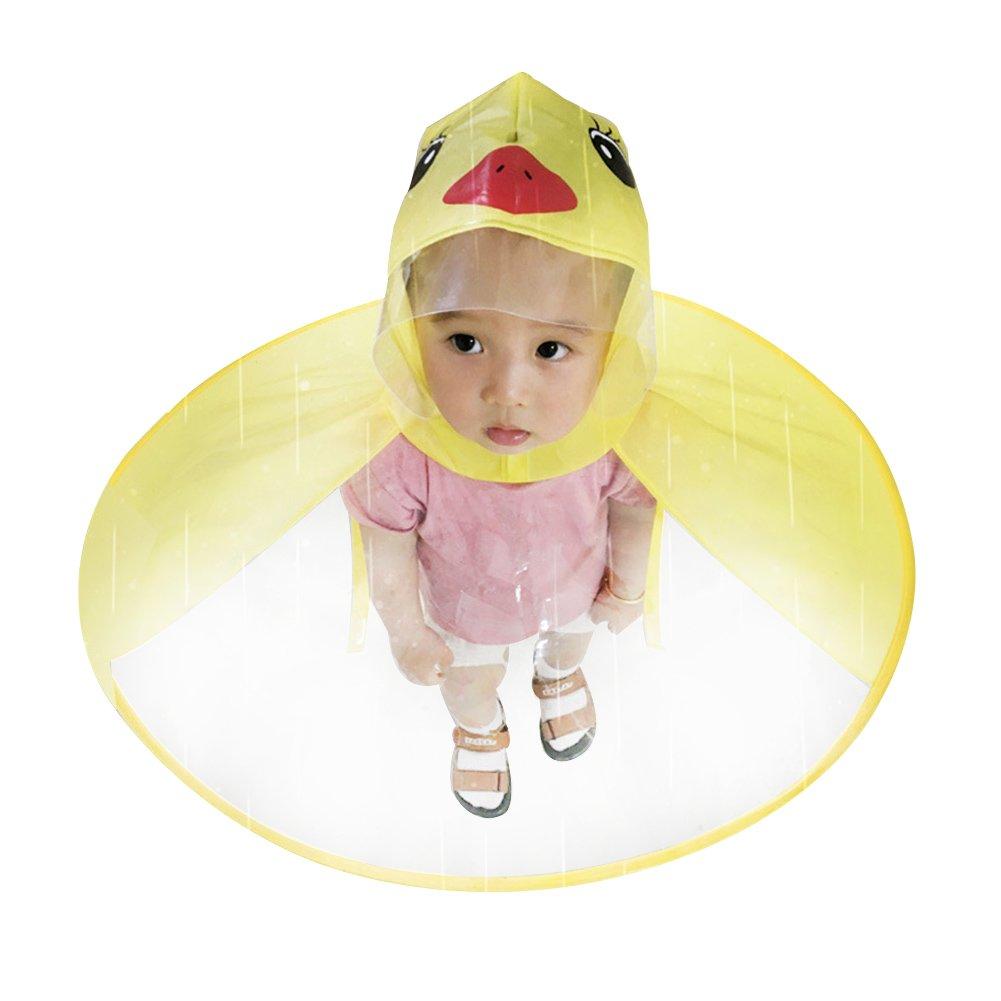 Children UFO Raincoat Umbrella Hat Kids Rain Jacket Novelty Headwear Rainwear Cloak Folding Rain Coats Rainwear Hat for Child