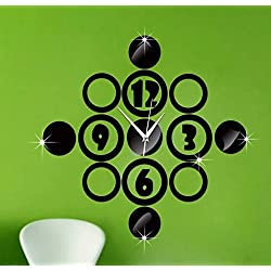 WuuLii Decor Wall Clock-Living Room Mute Wall Clock - Decoration Mute Diy Wall Clock Digital Circle Mirror Wall Sticker Wall Clock, Black