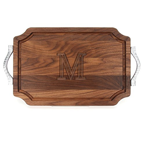 BigWood Boards W310-RP-M Cutting Board with Rope Handle in Cast Aluminum with Scalloped Corners, 12-Inch by 18-Inch by 1-Inch, Monogrammed ''M'', Walnut by BigWood Boards