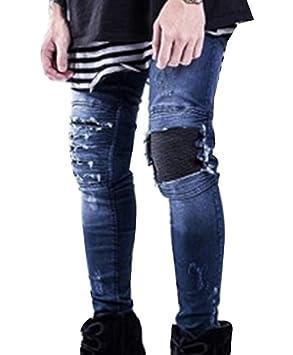 LaoZan Hombre - Vaqueros Ajustados - Biker Jeans - Agujeros ...