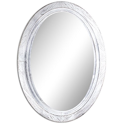 American Art Decor Shabby Chic Whitewashed Wooden Oval Vanity Mirror Accent Mirror -
