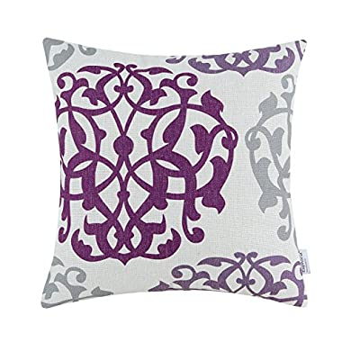 Euphoria CaliTime Cushion Covers Pillows Shell Cotton Linen Blend Three-tone Floral Geometric 18 X 18 Inches