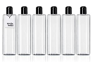 Newday Bottles, Empty 8 oz Plastic Bottles Refillable Squeezable BPA-Free with Hand Press Disc Cap Top Lids, Pack of 6 (Clear with Black Cap)