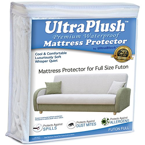 UltraPlush Premium Futon Full Size Waterproof Mattress Protector - Super Soft Quiet Cover