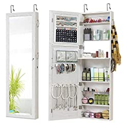 "Specifications: Product: Wall / Door Mounted Mirror Jewelry Cabinet Color: White Model: GMJ2003W Material: MDF, Glass Simple Assembly: Yes Product Size: 47.24"" H x 14.57"" W x 3.94"" D(120 x 37 x 10 cm) Mirror Size: 43.9"" H x 11.02"" L (111.5 x ..."