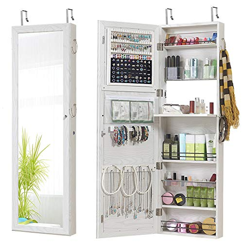 (GISSAR Jewelry Mirror Armoire Wall Mount Over The Door Mirror Jewelry Cabinet Storage Mirror Organizer Lockable Full Length Door Mirror(White),Gift- LED Light)