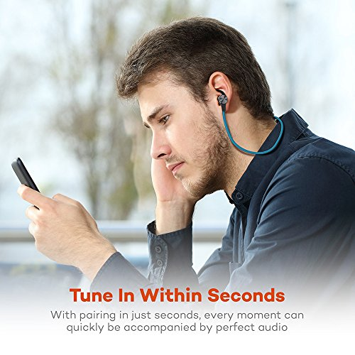 Bluetooth Headphones, TaoTronics Wireless 4.1 Magnetic Earbuds aptX Stereo Earphones, IPX5 Splash Proof Secure Fit for Sports with Built in Mic TT-BH07 Blue