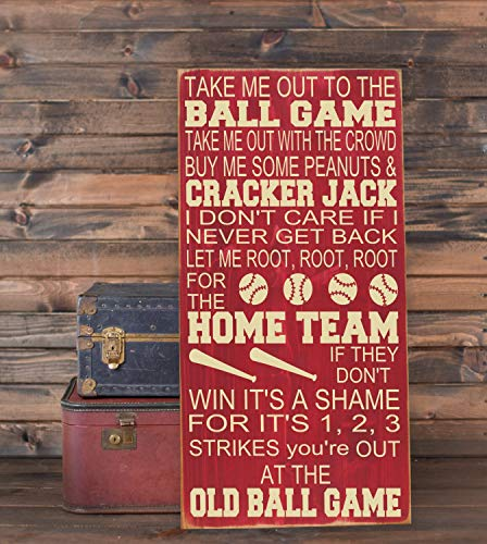 (Ruskin352 Take Me Out to The Ballgame Baseball Nursery Decor Subway Art Plaque Wooden Sign 10x18 Playroom Decor Baseball Sign Nursery Wall)