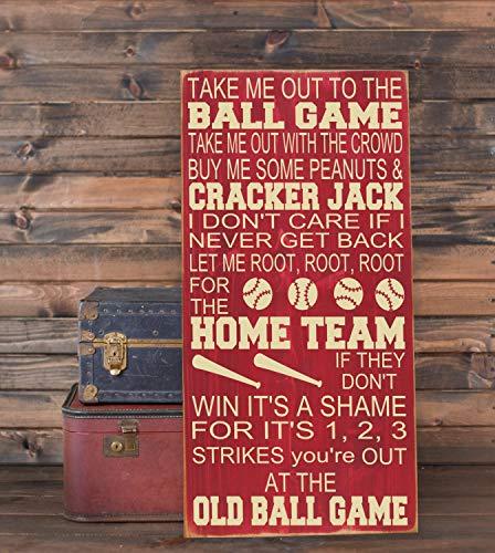 (Ruskin352 Take Me Out to The Ballgame Baseball Nursery Decor Subway Art Plaque Wooden Sign 10x18 Playroom Decor Baseball Sign Nursery Wall Decor)