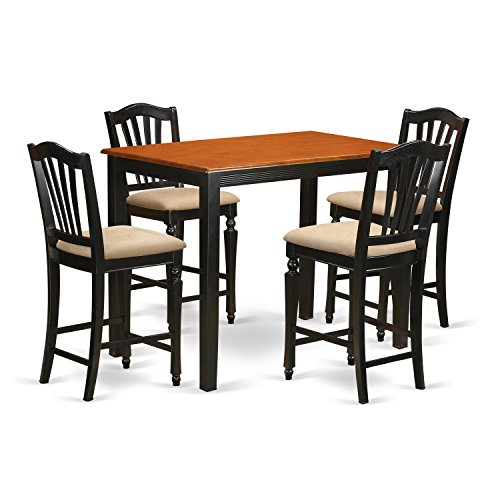 East West Furniture YACH5-BLK-C 5 Piece Kitchen Dinette Table and 4 Counter Height Stool Set (Round Dinette)