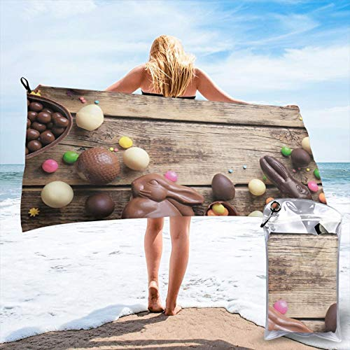 - K0k2to Fast Drying Beach Travel Camping Towel,Festive Sweets Spring Time Rabbit Colorful Candy Chocolate Delicious Holiday,Quick Dry Lightweight Bath Towel