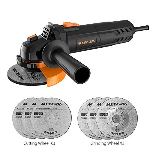 Meterk Electric Angle Grinder 6A 4-1/2inch with 115mm 3 Grinding Abrasive Wheels 3 Cutting Abrasive Wheels (Best Angle Grinder For Metal)