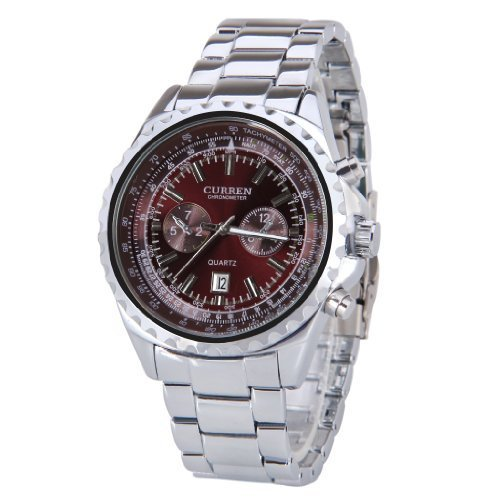 Curren Man's Cool Silver Stainless Steel Band Business Watch Water Resistant Chronometer Wristwatch Red Dial Design - Chronometer Silver Watch