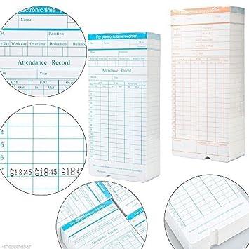 200 Time Cards / Fichas Reloj/ Tarjetas de reloj: Amazon.es: Oficina y papelería