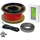 HeatTech 50 sqft Warming Cable Set, Electric Radiant In-Floor Heating Cable Warming System, 120V, 200ft long, with Digital 7-day Programmable Floor Sensing Thermostat