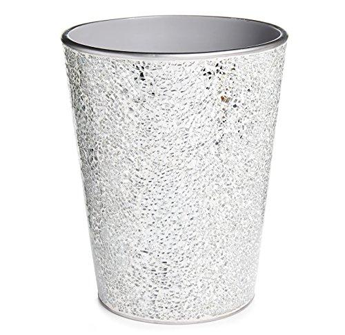 Home Treats Silver Mosaic Waste Bin