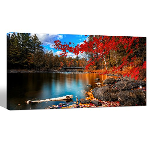Leaves Canvas Wall Art,Autumn Scenery Canvas Prints for Home Decor,lake Picture Prints on Canvas Framed and Ready to Hang - 24