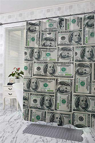 (homecoco Money Bathtub Splash Guard Dollar Bills of United States Federal Reserve with The Portrait of Ben Franklin Large Shower Curtain Pale Green Grey W108 x L72)