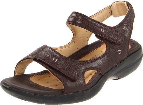 Clarks Womens Hatch Backstrap Sandal Dark Brown Leather