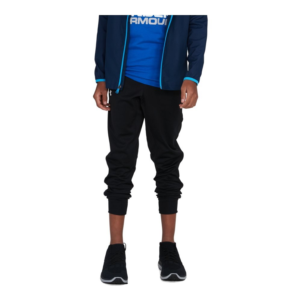 Under Armour Boys' Pennant Tapered Pant, Black/White, Youth Large