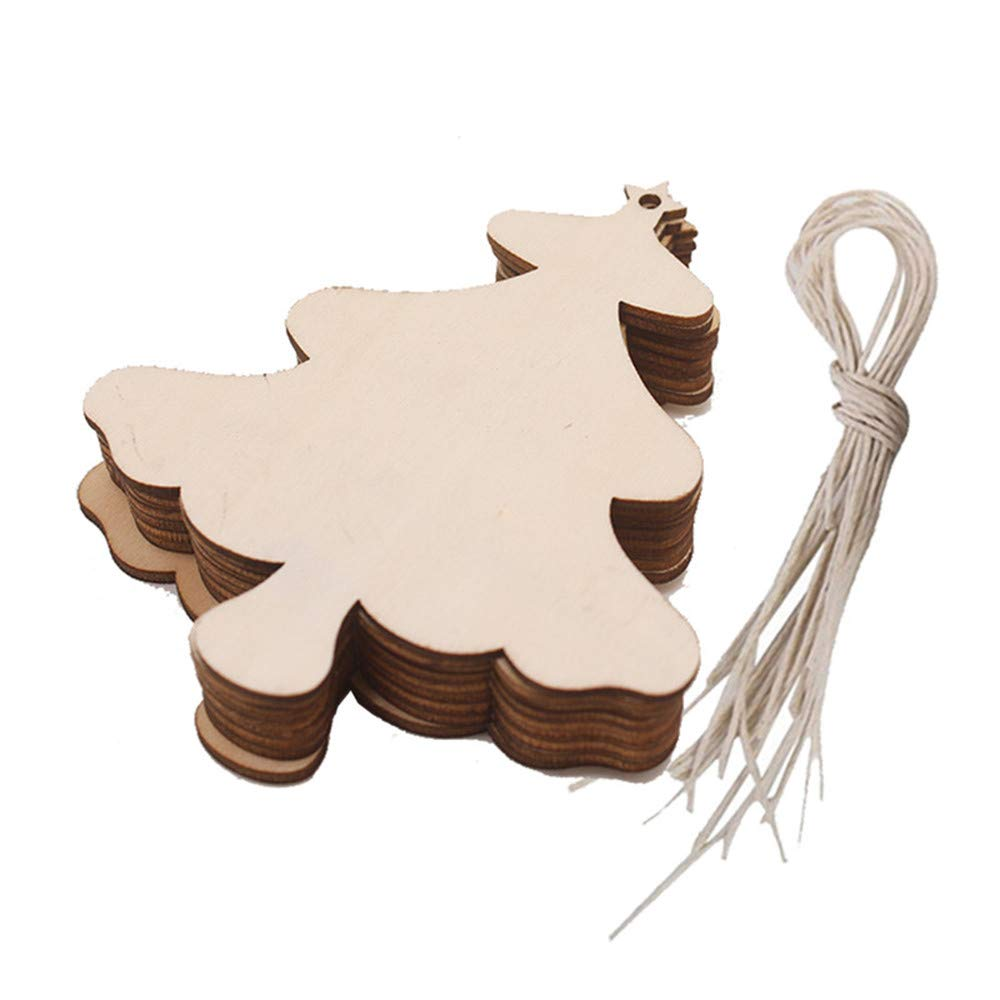 Christmas Wood Pendant Hanging,Lovewe 10pcs Wooden Pendant Christmas Decorations Children's Home Decoration Gifts (B)