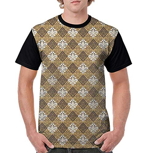- Raglan Sleeve Baseball Tshirt,Oriental,Traditional Damask Inspirations with Abstract Middle Eastern Swirls, Sand Brown Umber White S-XXL Mens Short Sleeve Blouses