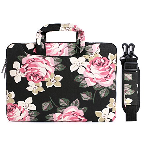 MOSISO Laptop Shoulder Bag Compatible 13-13.3 Inch MacBook Pro, MacBook Air, Surface Book, Notebook Computer, Canvas Rose Pattern Laptop Shoulder Messenger Handbag Case Cover Sleeve, Black